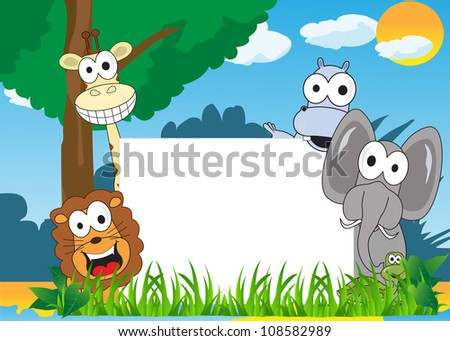 animals happy, with a wide natural background - stock vector