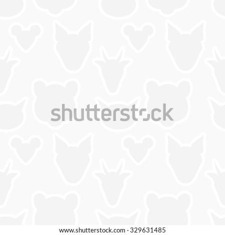 Animals heads silhouette seamless pattern. Vector light gray wallpaper texture eps8 - stock vector