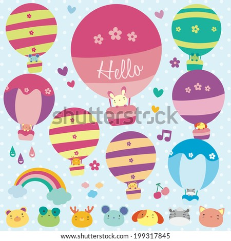 Animals hot air balloon illustration - stock vector