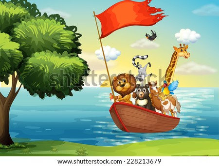 Animals in ark boat at shore - stock vector