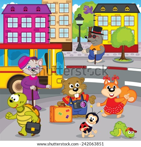 animals in city come by bus - vector illustration, eps - stock vector