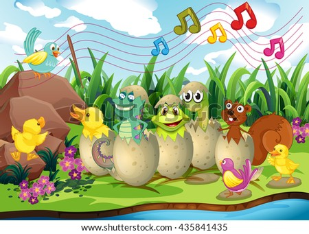 Animals in eggshells by the river illustration
