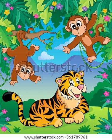 Animals in jungle topic image 4 - eps10 vector illustration. - stock vector