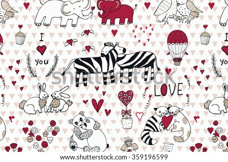 Animals in love pattern - stock vector