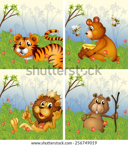 Animals in the park - stock vector