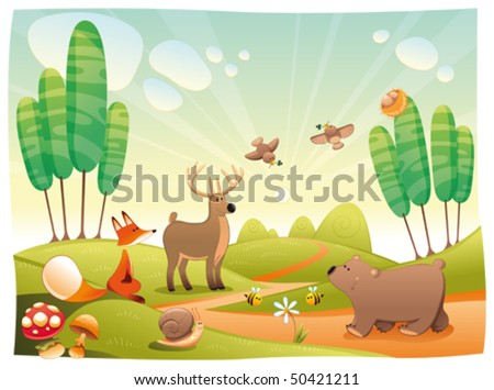 Animals in the wood. Funny cartoon and vector illustration, isolated objects - stock vector