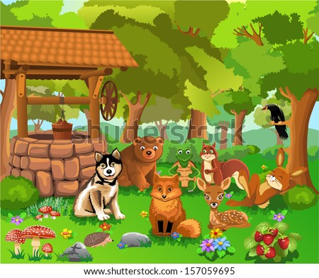 animals living in the forest - stock vector