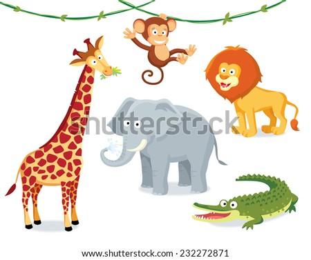 animals of africa and savanna - stock vector