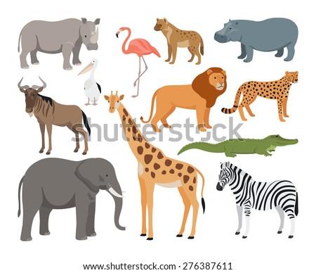 Animals of Africa vector set - stock vector