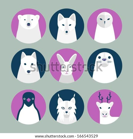 Animals of the arctic and tundra - stock vector