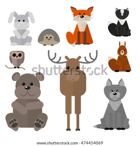 Animals of the forest , set wild animals on a white background , vector