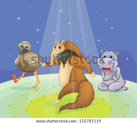 Animals performing on a stage - stock vector