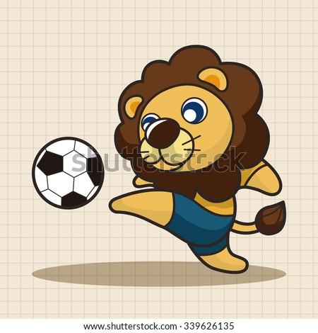 Animals play football cartoon theme elements - stock vector