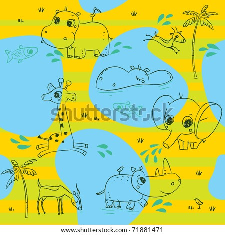 Animals playing baby seamless pattern background