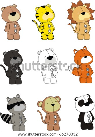 animals plush cartoon set in vector format very easy to edit