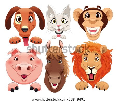 Animals portrait. Funny cartoon and vector isolated characters. - stock vector