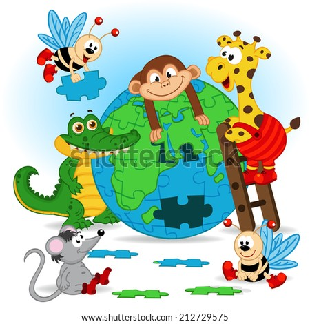 animals puzzle earth - vector illustration, eps - stock vector