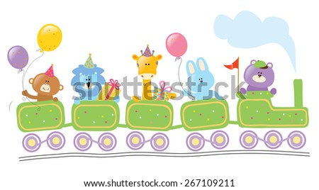 Animals riding birthday train - stock vector