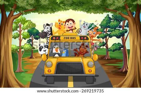 Animals riding on a zoo bus - stock vector