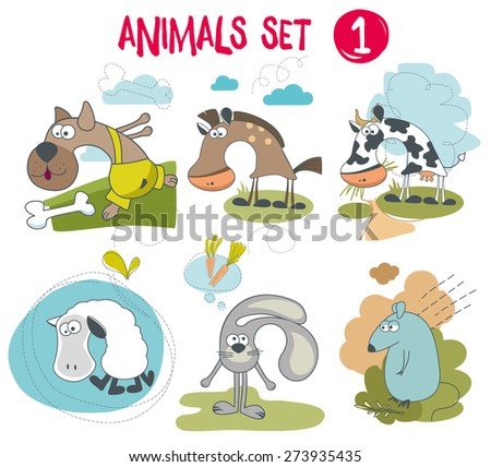 Animals set 1 - stock vector