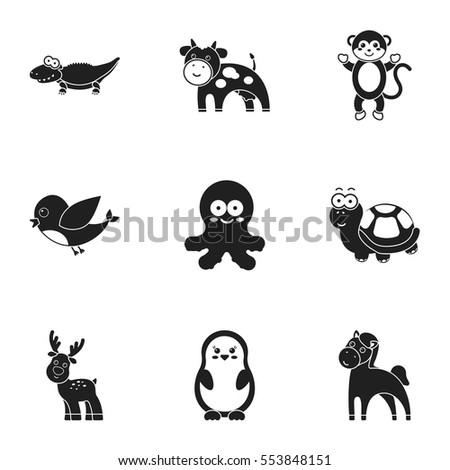 Animals set icons in black style. Big collection of animals vector symbol stock illustration