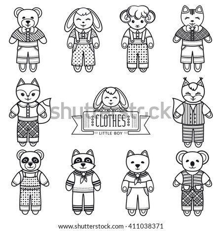 Animals. Set. Monochrome illustration. Template for cutting and coloring book. Black and white. Vector illustration.