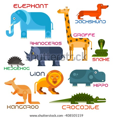 Animals set with flat icons of african elephant, giraffe, lion, rhino, hedgehog, dachshund, hippo, crocodile, kangaroo and snake. Wildlife and zoo mascot, children book and nature theme design - stock vector