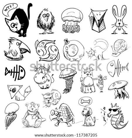 Animals sketch illustration. Big vector collection of characters