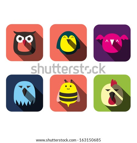 animals user flat design - stock vector