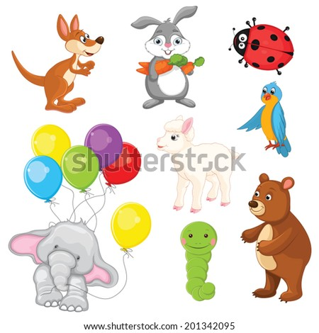 Animals Vector Illustration Set - stock vector