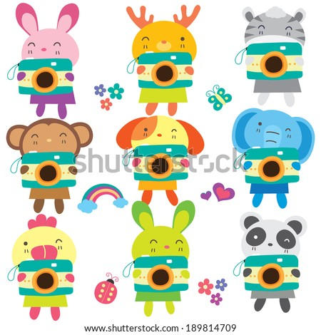 Animals with camera set 1  - stock vector