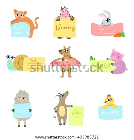 Animals With Cards To fill Set Of Vector Flat Isolated Icons In Cute Childish Colorful Design On White Background - stock vector