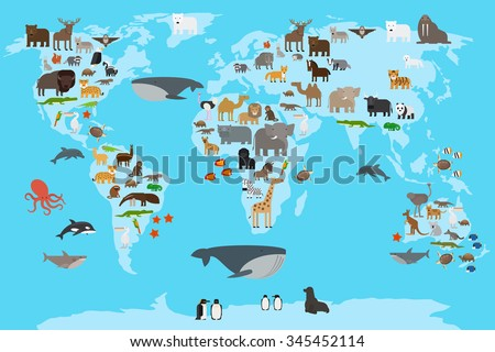 Animals world map animals living different vectores en stock animals world map animals living in different parts of the planet guide vector illustration gumiabroncs Choice Image