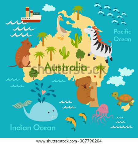 Animals World Map Australia Vector Illustration Stock Vector - World map oceans continents