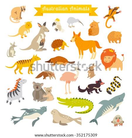 Animals world map, Australia. Vector illustration, preschool, baby, continents, oceans, drawn, Earth - stock vector
