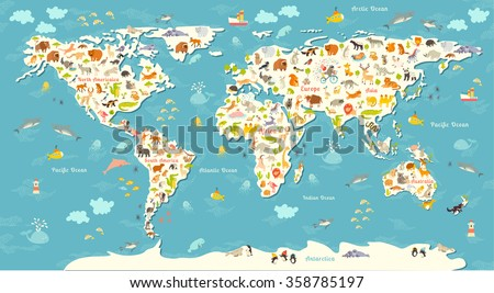 Animals world map beautiful cheerful colorful stock vector 358785197 animals world map beautiful cheerful colorful vector illustration for children kids inscription of gumiabroncs Image collections