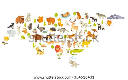 Animals world map eurasia colorful cartoon stock vector 354516431 animals world map eurasia colorful cartoon vector illustration for children and kids eurasian gumiabroncs Image collections