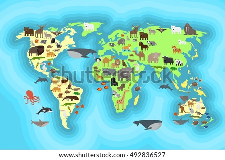 Animals world map kids wallpaper design stock vector 492836527 animals world map for kids wallpaper design vcetro illustration gumiabroncs Image collections