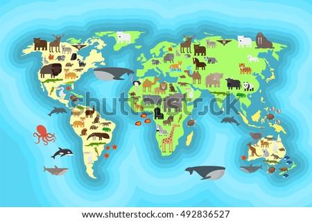 Animals world map kids wallpaper design vectores en stock 492836527 animals world map for kids wallpaper design vcetro illustration gumiabroncs Images