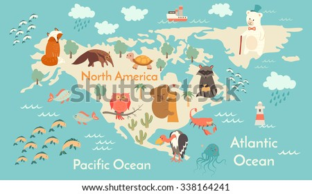 Animals world map north america north stock vector 338164241 animals world map north america north america map for childrenkids north gumiabroncs Choice Image