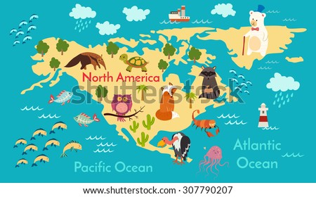 Animals World Map North America Vector Illustration Preschool Baby Continents