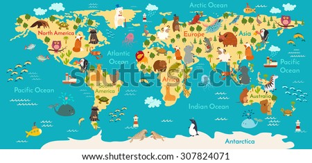Animals world map. Vector illustration, preschool,  baby, continents, oceans, drawn, Earth. - stock vector