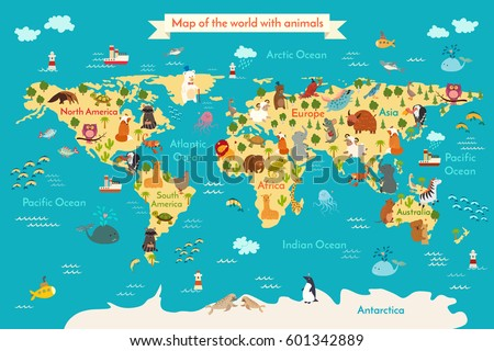Animals world map north america vector vectores en stock 307790207 animals world map vector illustration preschool babycontinents oceans drawn gumiabroncs Choice Image