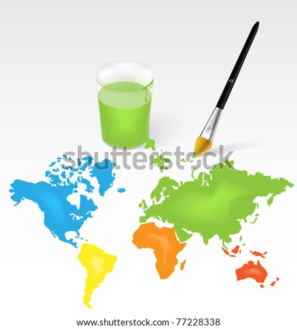 Animated world map - brush and glass with color