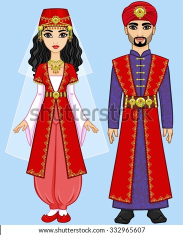Animation Arab Family Ancient Clothes Isolated Stock ... Ancient Arabian Princess