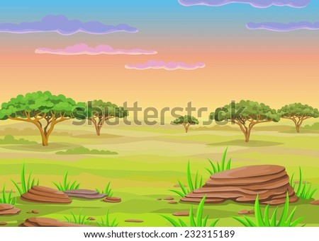 Animation landscape of the African savanna.