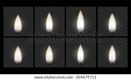 Animation of burning candle flame - stock vector