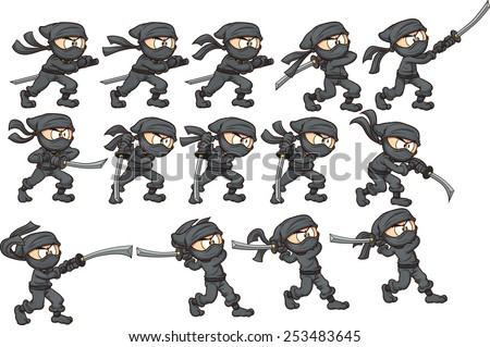 Animation of ninja attacking with sword. Vector clip art illustration with simple gradients. Each on a separate layer. - stock vector