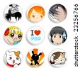 Anime badges | Set 2 - stock vector