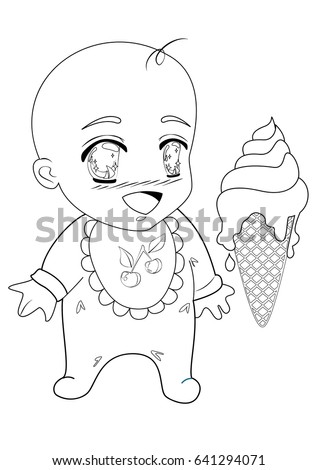 Anime Child Coloring Page Small Baby Stock Photo (Photo, Vector ...